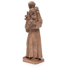 Estatua San Antonio con niño de madera patinada de la Val Gardena