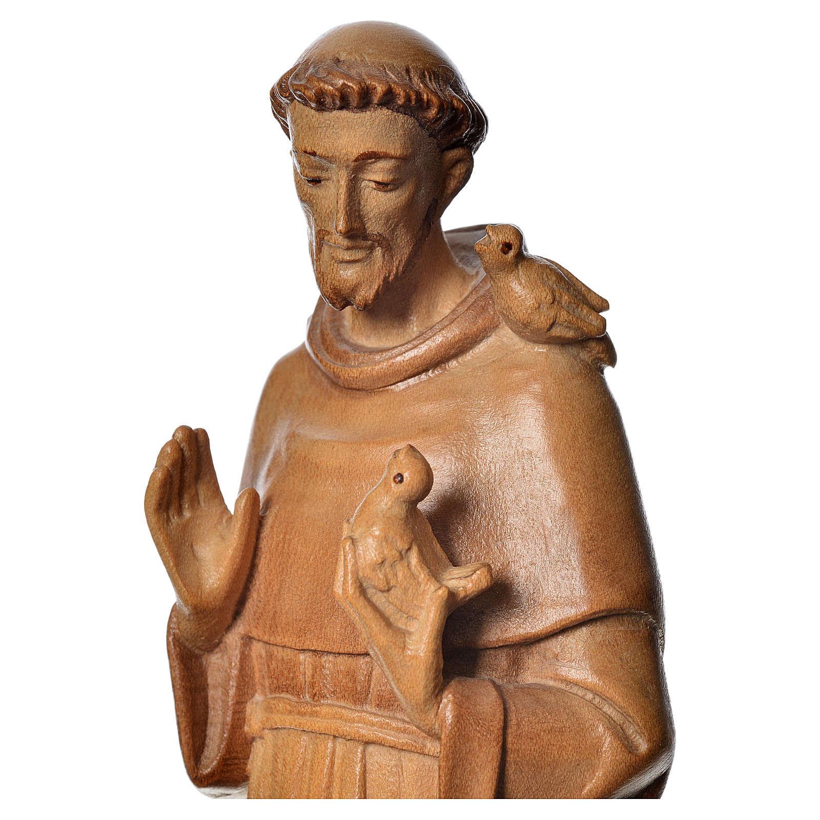 San Francesco d'Assisi legno Valgardena multipatinato 4