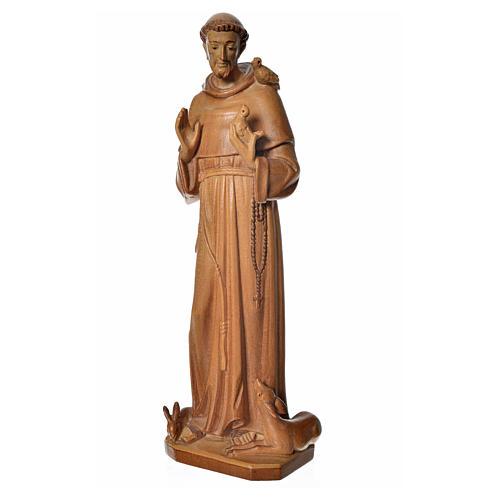 São Francisco de Assis madeira Val Gardena pátina múltipla
