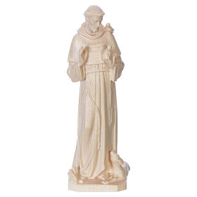 Saint Francis of Assisi statue in natural wax Valgardena wood s1