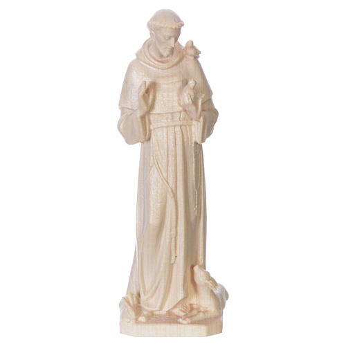 Saint Francis of Assisi statue in natural wax Valgardena wood 1