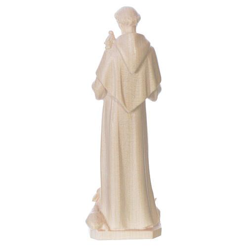 Saint Francis of Assisi statue in natural wax Valgardena wood 2