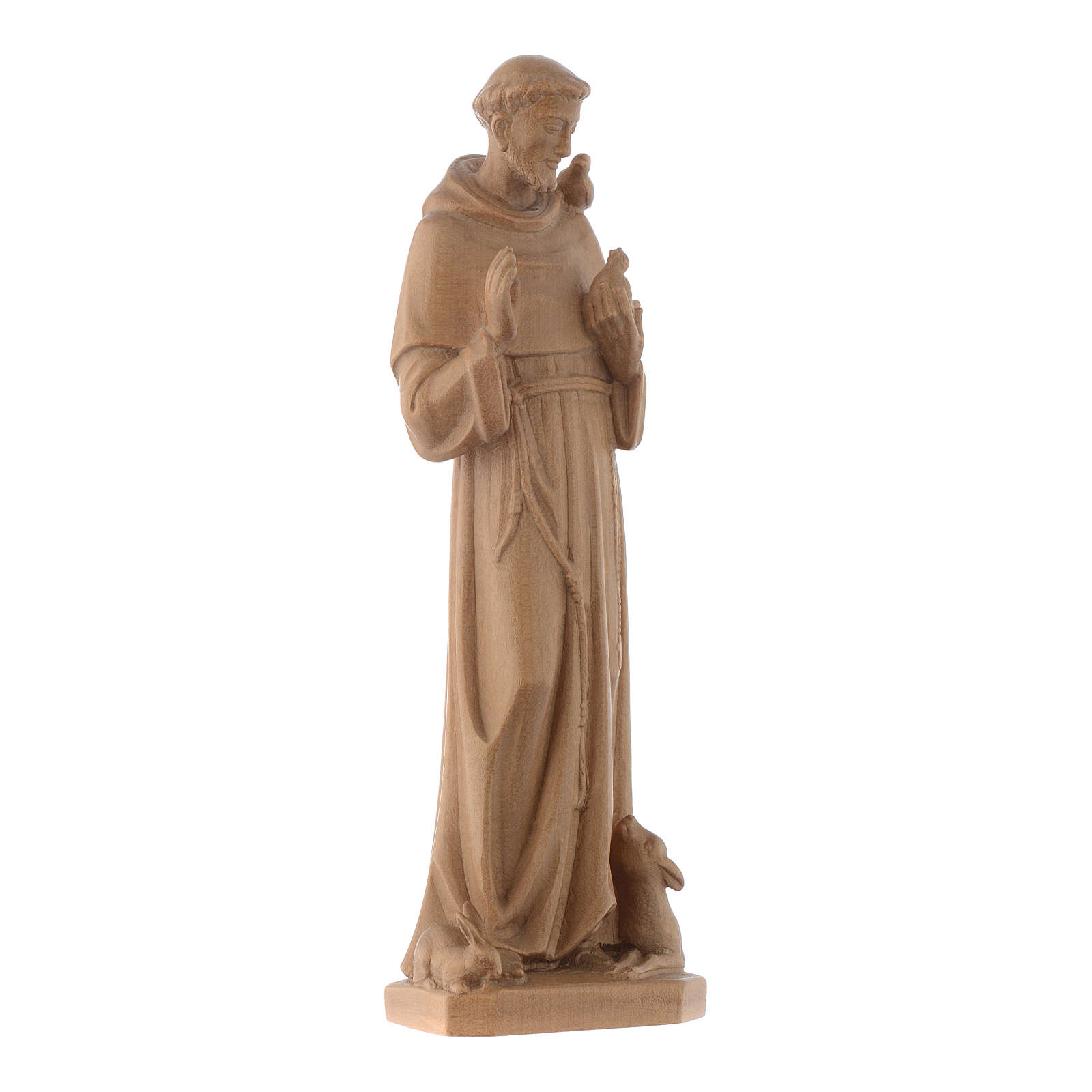 Saint Francis of Assisi statue in patinated Valgardena wood 4