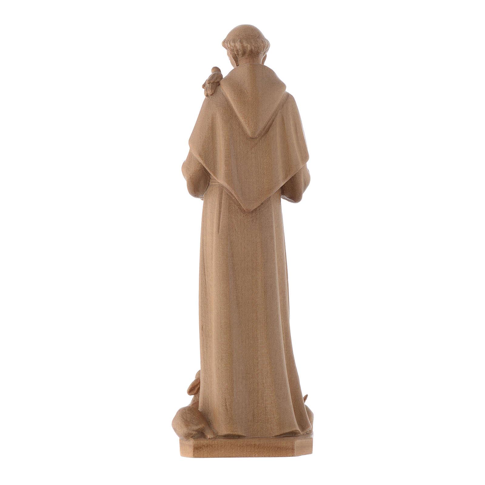 Estatua de San Francisco de Asís de madera patinada de la Val Gardena 4