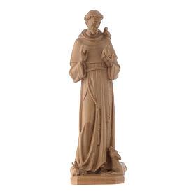 Imágenes de madera natural: Estatua de San Francisco de Asís de madera patinada de la Val Gardena