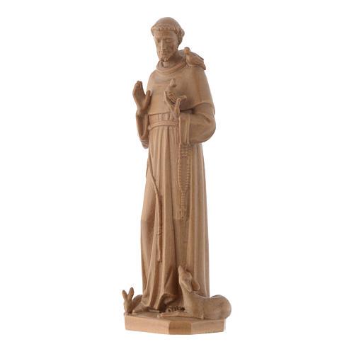 Estatua de San Francisco de Asís de madera patinada de la Val Gardena 3