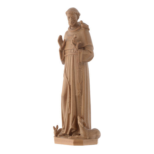Saint Francis of Assisi statue in patinated Valgardena wood 3