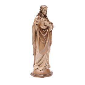 Sacred Heart of Jesus statue in multi-patinated Valgardena wood s3