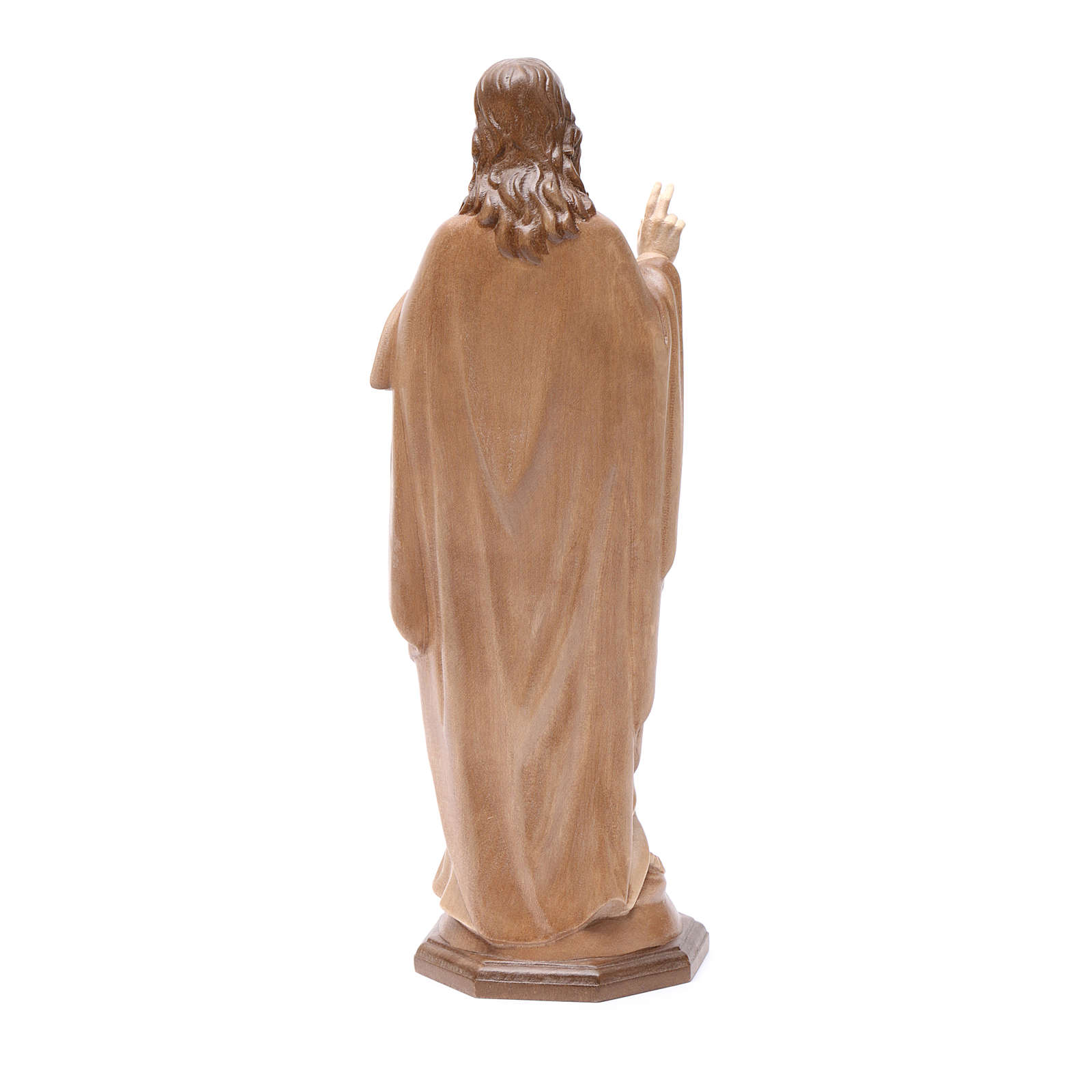 Sagrado Corazón de Jesús de madera multi-patinada de la Val Gardena 4