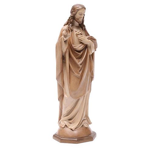 Sacro Cuore di Gesù legno Valgardena multipatinato 3