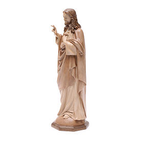 Sacred Heart of Jesus statue in multi-patinated Valgardena wood s2