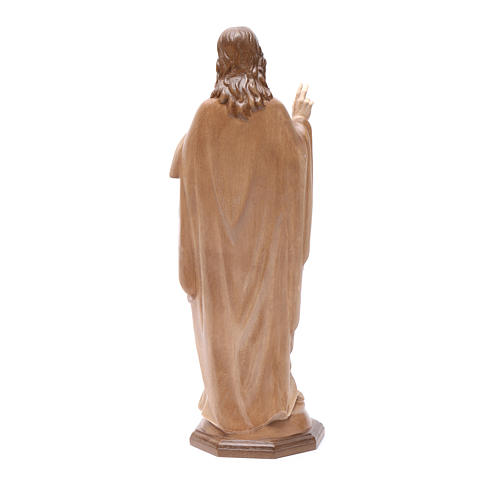 Sacred Heart of Jesus statue in multi-patinated Valgardena wood 4