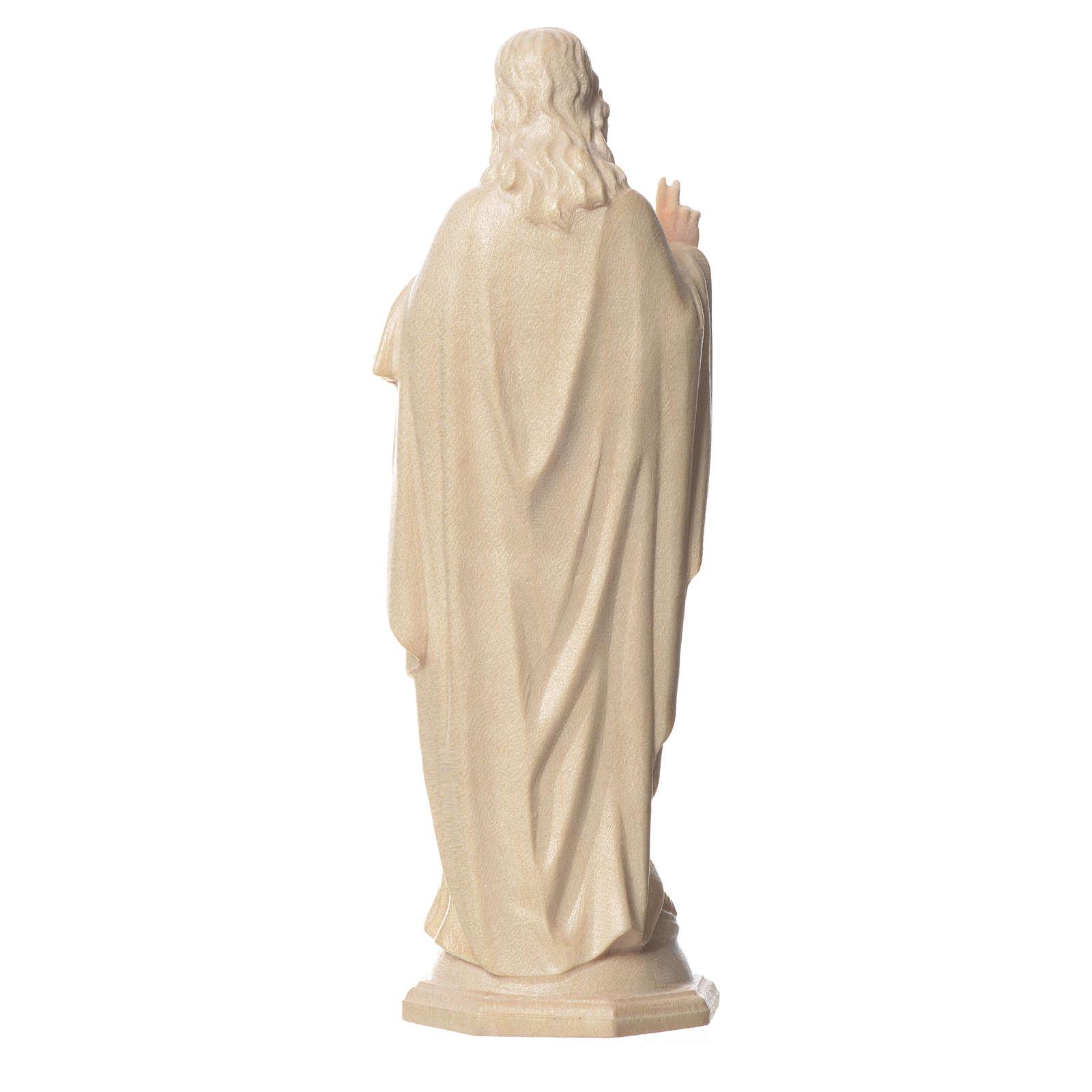 Imagen Sagrado Corazón de Jesús de madera natural de la Val Gardena, acabado con cera transparente 4