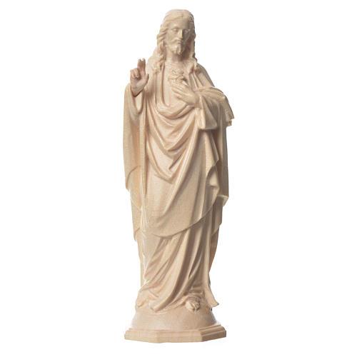 Imagen Sagrado Corazón de Jesús de madera natural de la Val Gardena, acabado con cera transparente 1