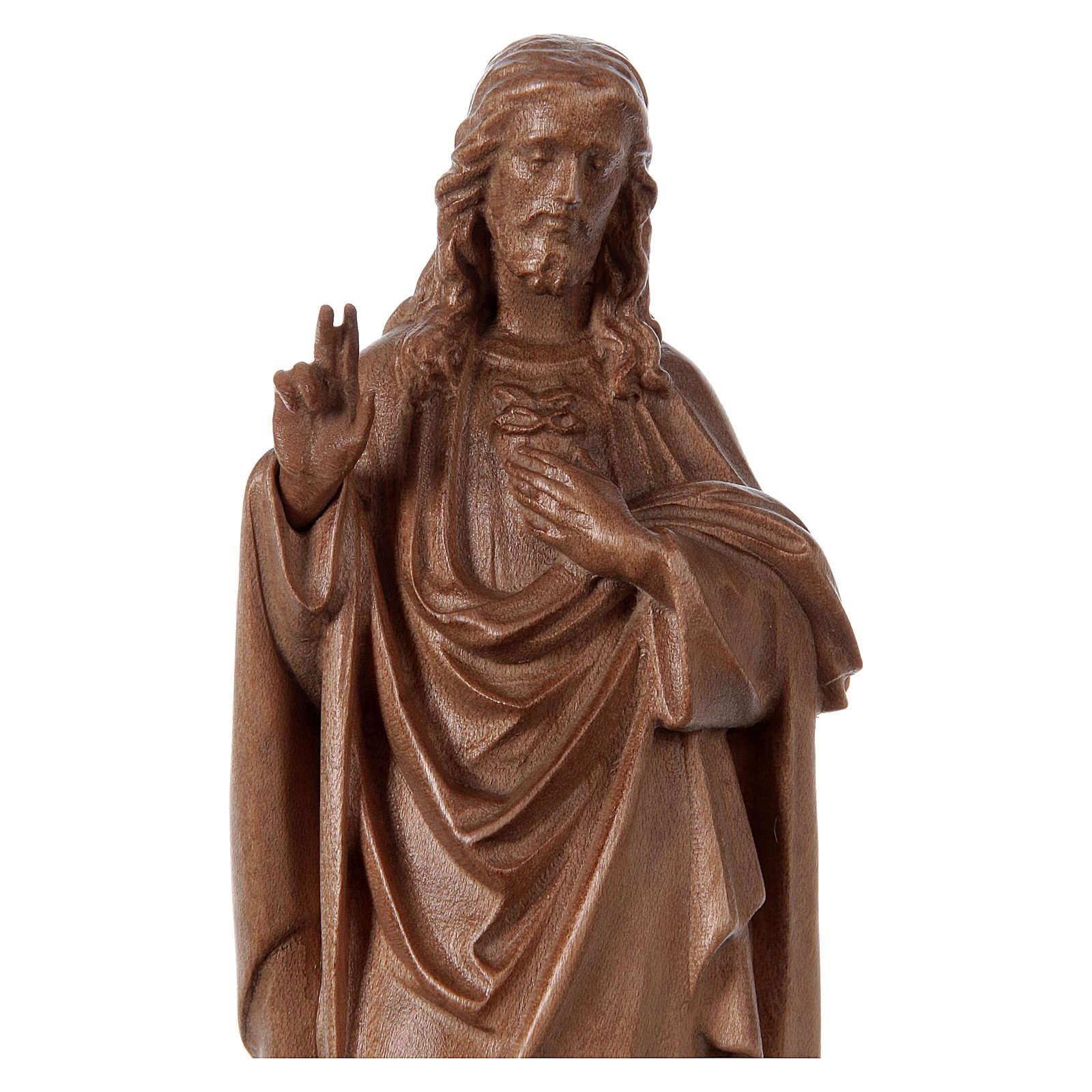 Estatua Sagrado Corazón de Jesús de madera patinada de la Val Gardena 4