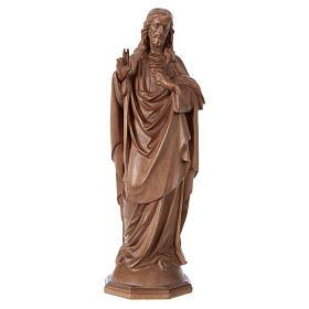 Imágenes de madera natural: Estatua Sagrado Corazón de Jesús de madera patinada de la Val Gardena