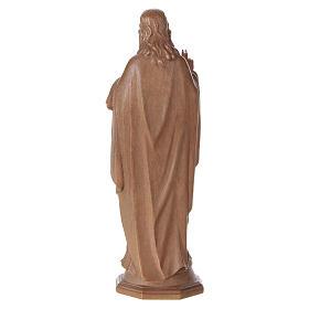 Estatua Sagrado Corazón de Jesús de madera patinada de la Val Gardena s4