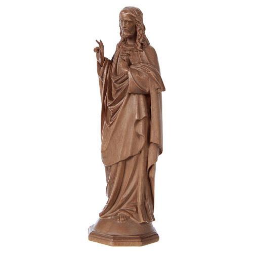 Estatua Sagrado Corazón de Jesús de madera patinada de la Val Gardena 3