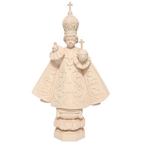 Natural wood statues and figures: Baby Jesus of Prague in Valgardena wood, natural wax
