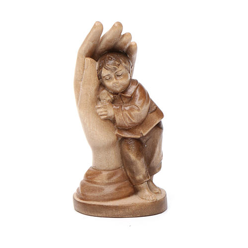 Main de Dieu avec enfant bois patiné multinuances Valgardena 1