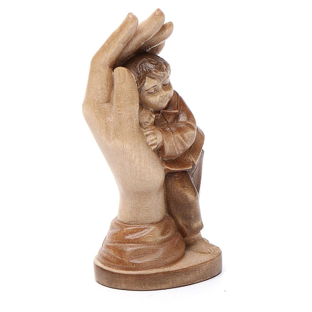 Mano protettiva con bimbo legno Valgardena multipatinato 4