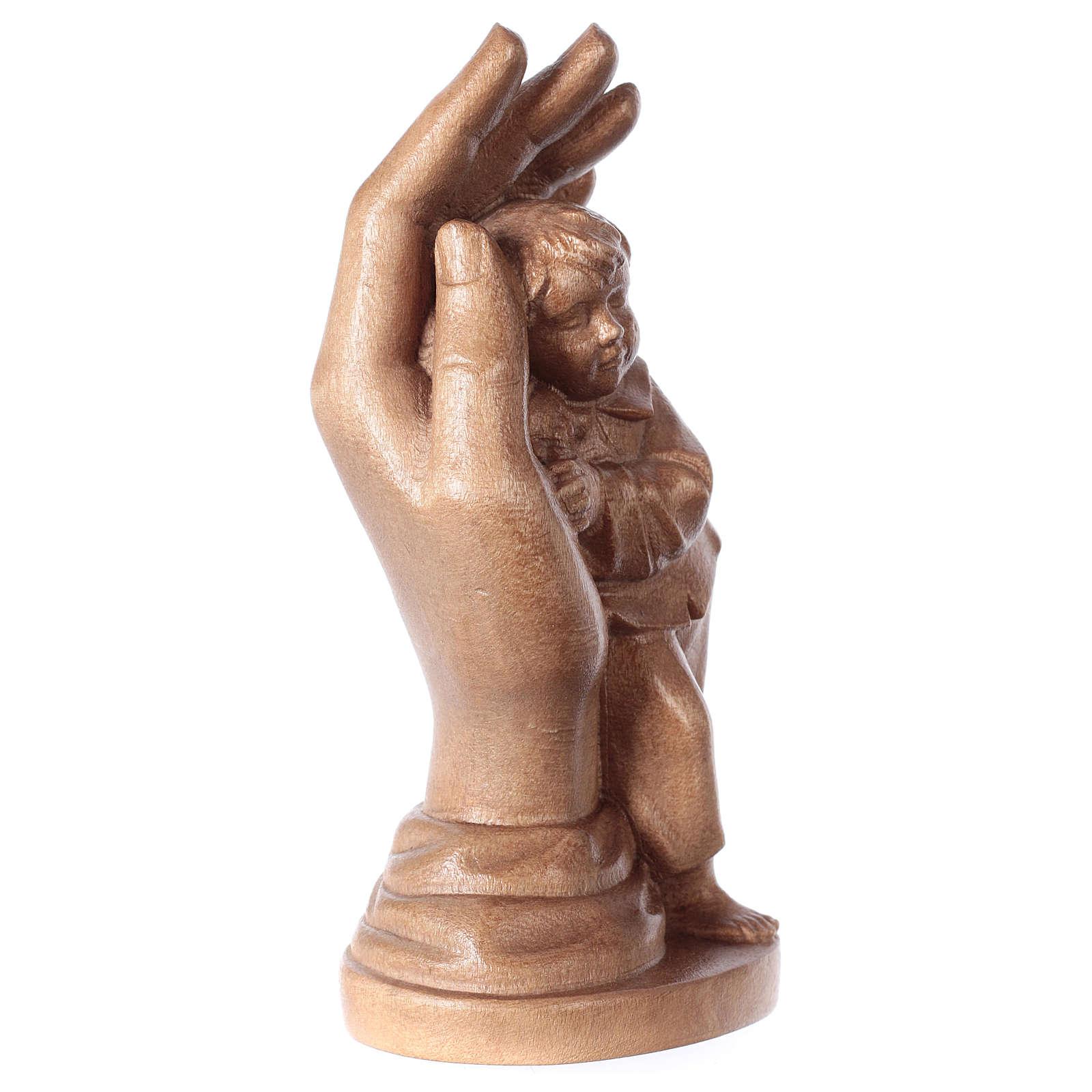Hand Gottes mit Jung Grödnertal Holz patiniert 4