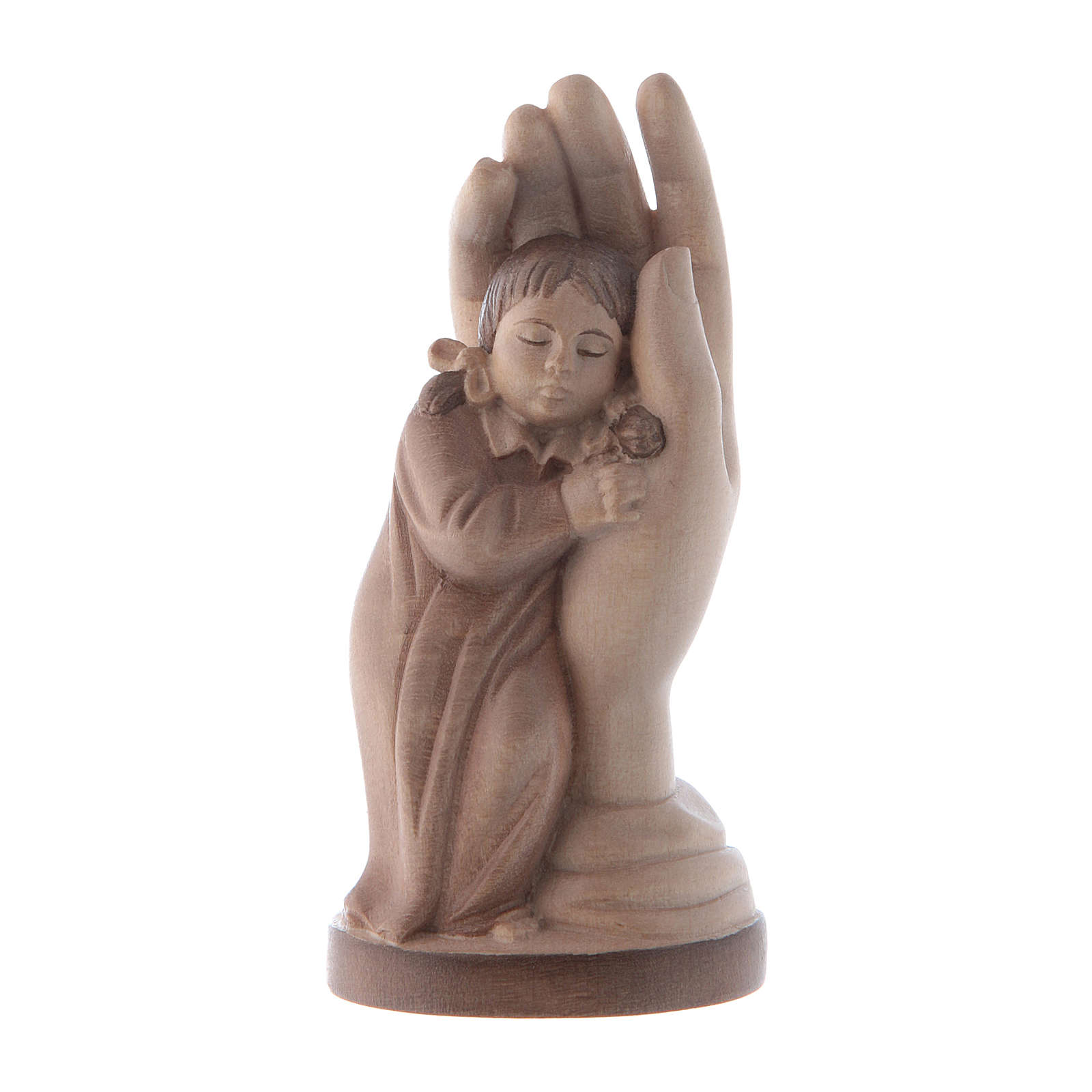 Protective hand with young girl in multi-patinated Valgardena wo 4
