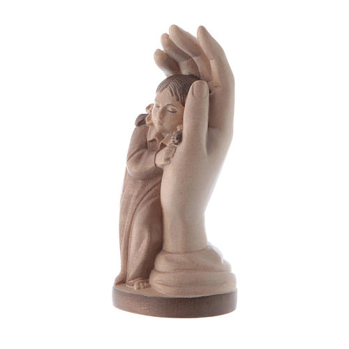 Protective hand with young girl in multi-patinated Valgardena wo 2
