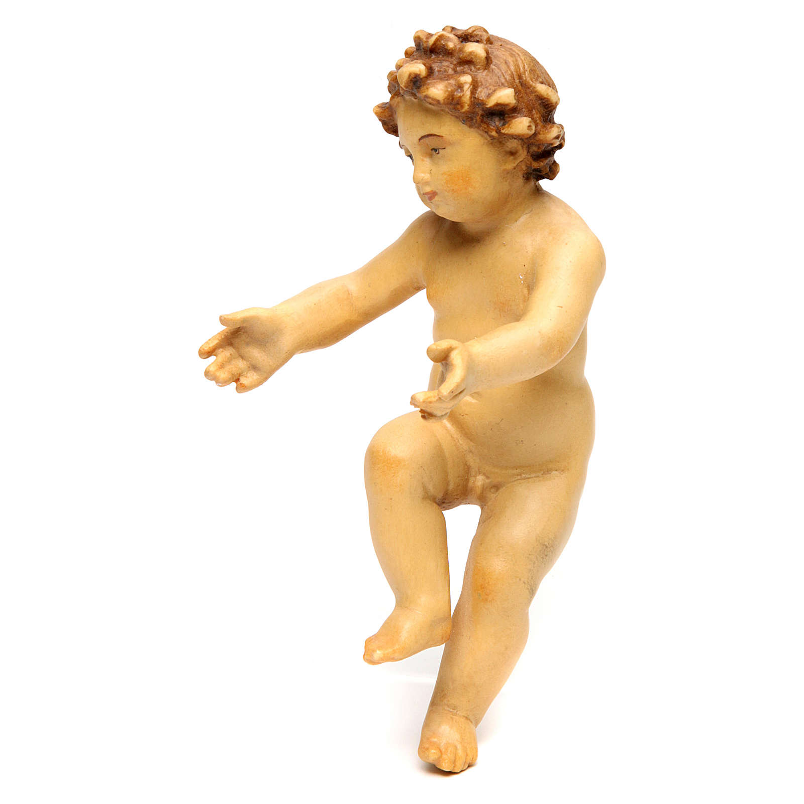 Baby Jesus wooden figurine with opened arms in shades of brown 3