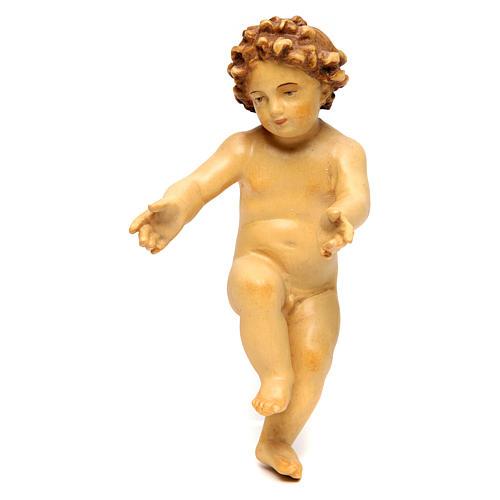 Enfant Jésus en bois coloré avec nuances de brun 1