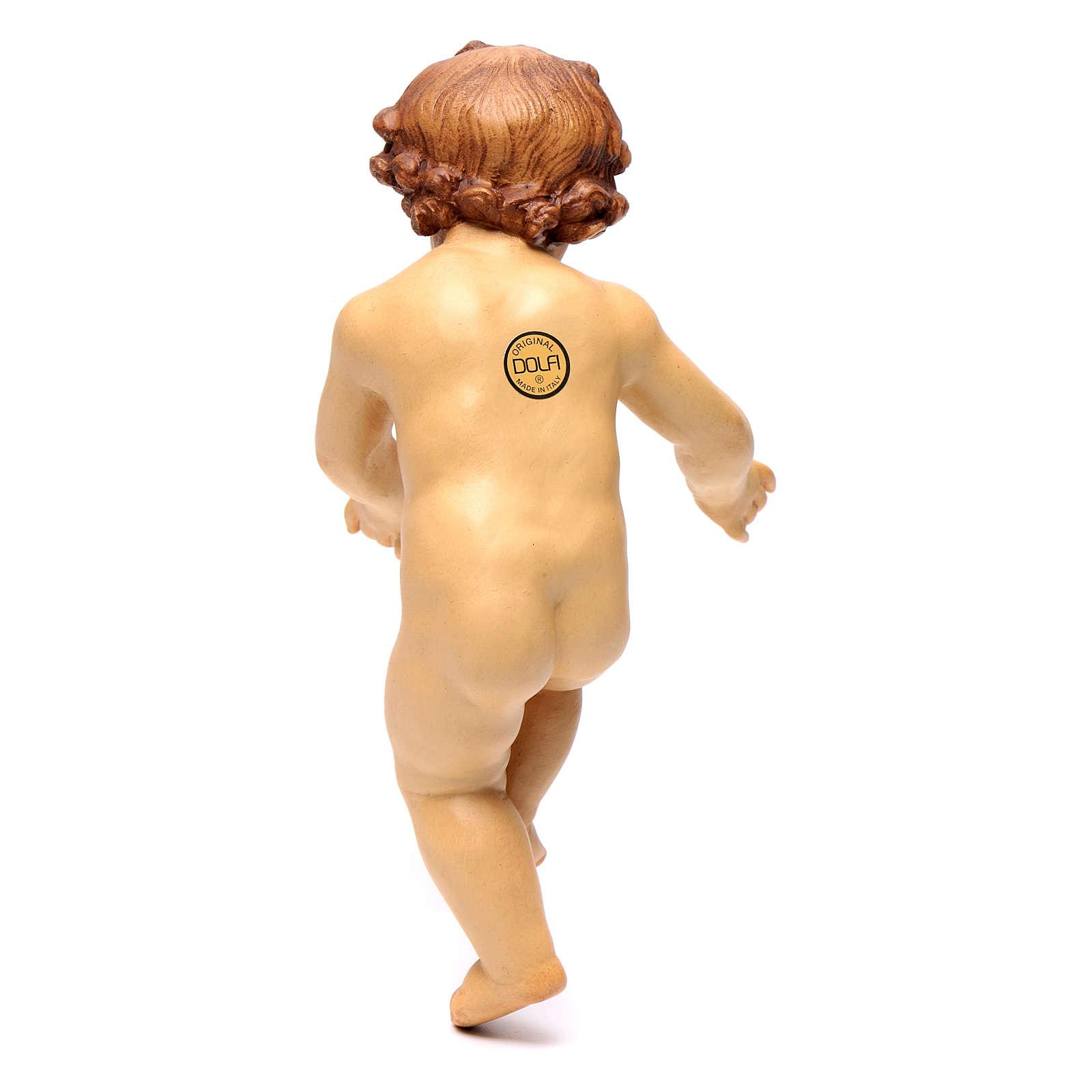 Bambinello Gesù in legno colorato con diversi marroni 3