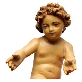 Bambinello Gesù in legno colorato con diversi marroni s2