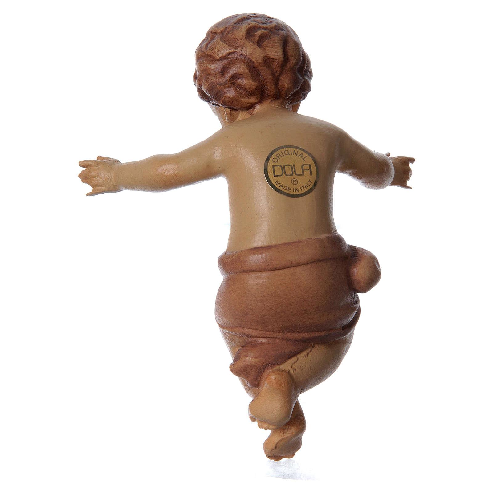 Bambinello Gesù braccia aperte in legno tonalità marrone 3
