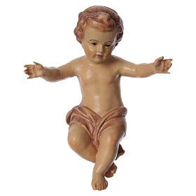 Bambinello Gesù braccia aperte in legno tonalità marrone s1