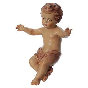 Bambinello Gesù braccia aperte in legno tonalità marrone s2