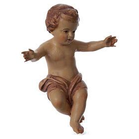 Bambinello Gesù braccia aperte in legno tonalità marrone s3
