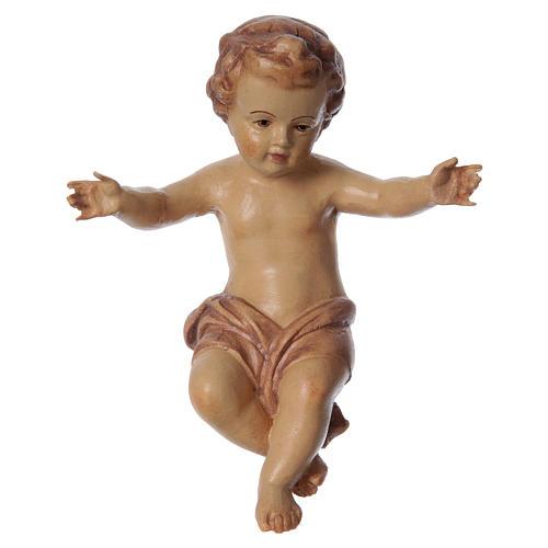 Bambinello Gesù braccia aperte in legno tonalità marrone 1