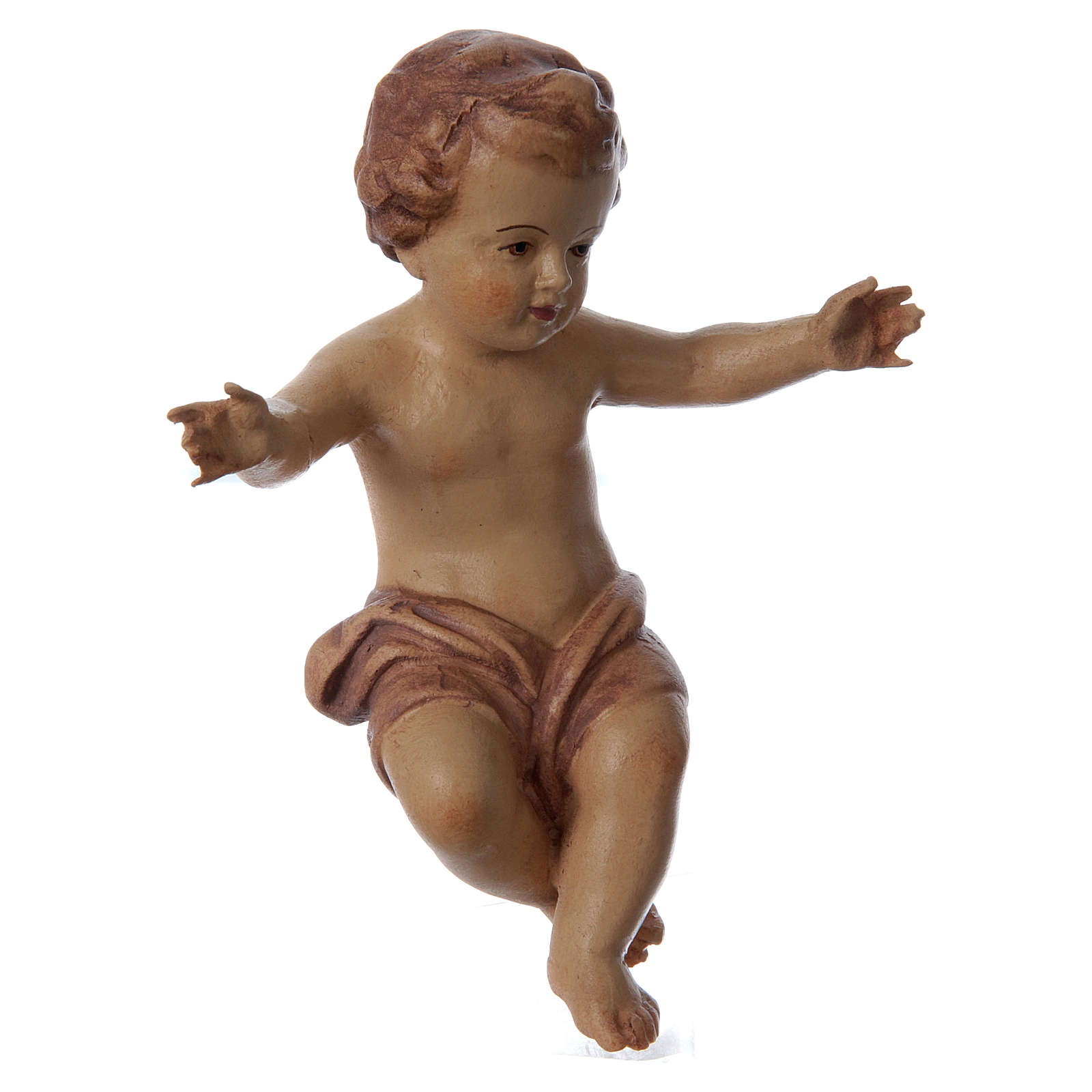 Baby Jesus wooden figurine with opened arms, brown shade 3