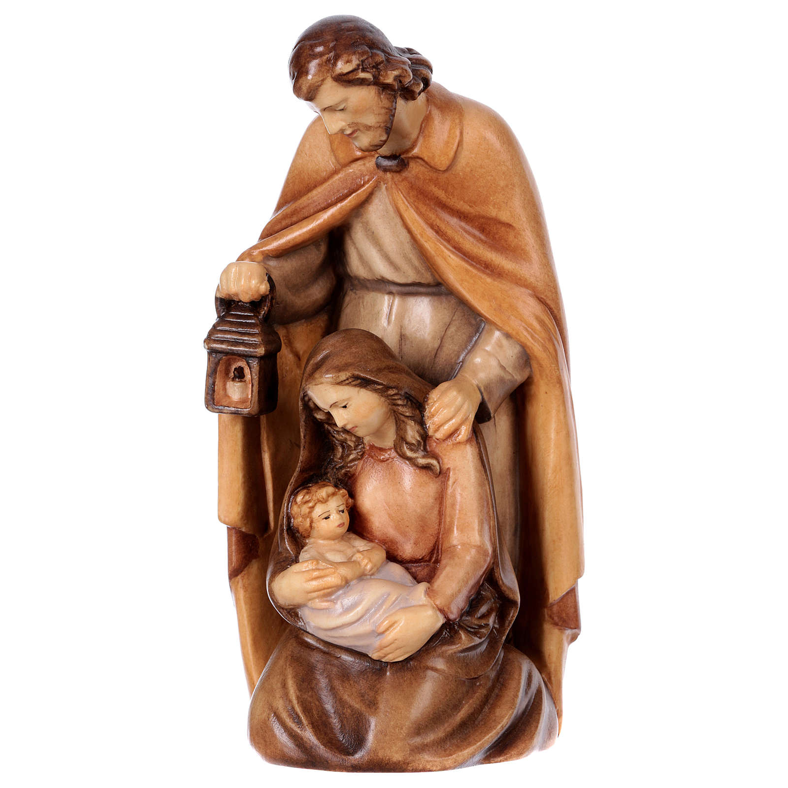 Estatua Sagrada Familia de madera, acabado con diferentes matices de marrón 4