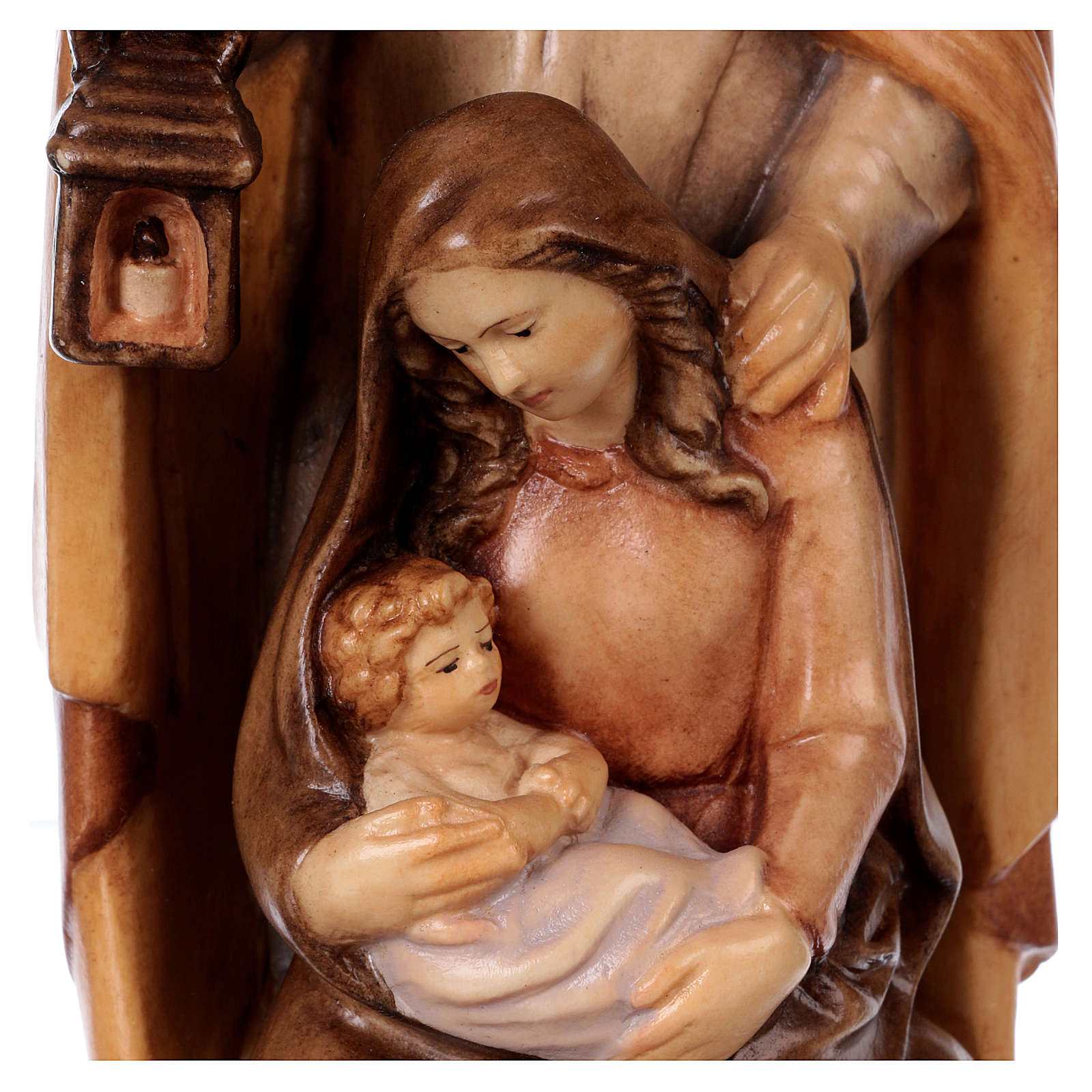 Holy Family in wood with different shades of brown 4