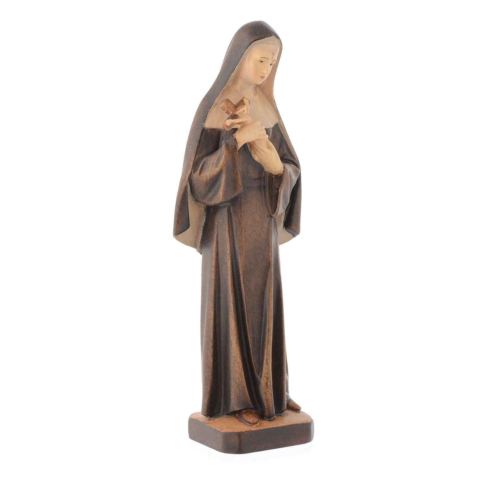 Statua Santa Rita in legno con diverse tonalità di marrone 4