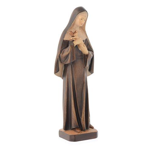Statua Santa Rita in legno con diverse tonalità di marrone 3