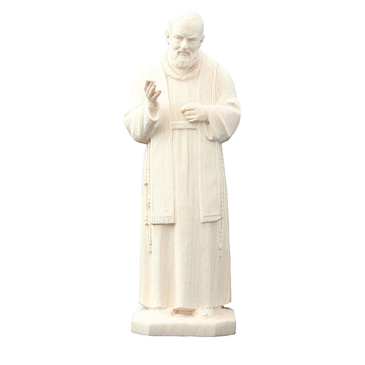 San Padre Pio da Pietrelcina in legno naturale 4