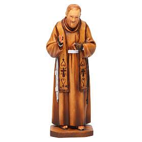 Saint Pio de Pietrelcina en bois nuances de marron s1