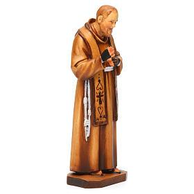 Saint Pio de Pietrelcina en bois nuances de marron s4