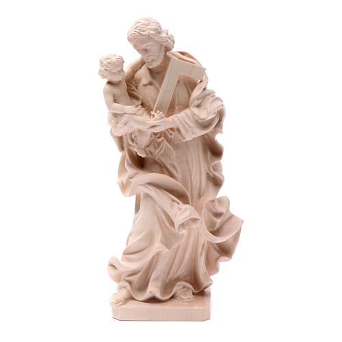Saint Joseph with baby statue in natural wood 1