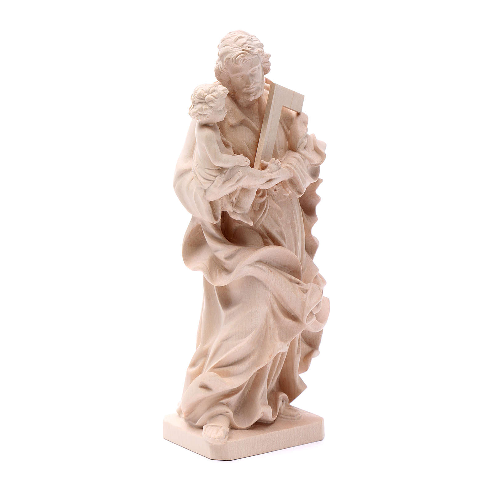 Saint Joseph with baby statue in natural wood 4