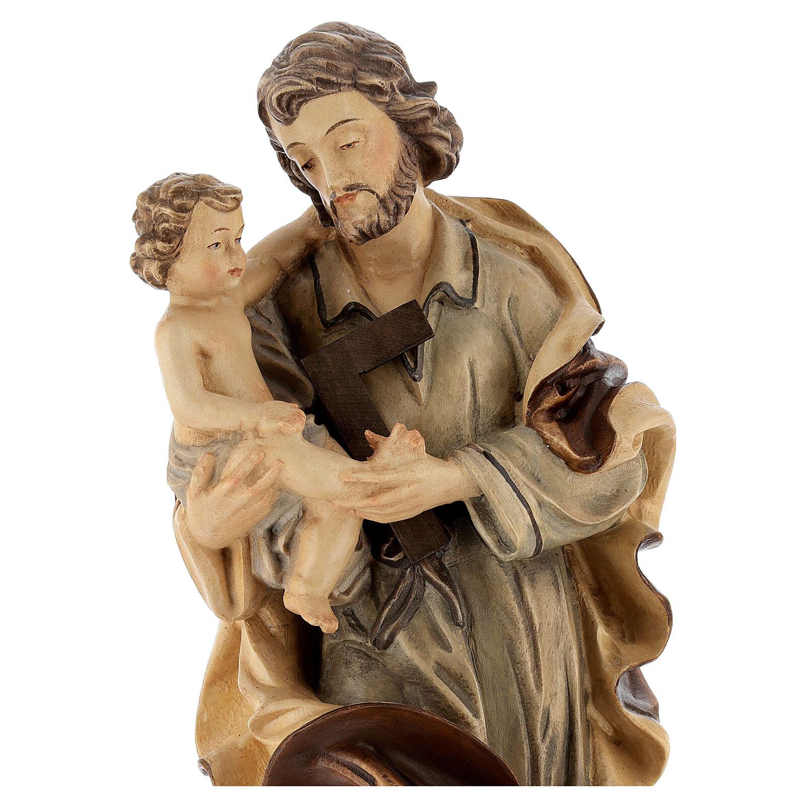 Heiliger Josef mit Kind Grödnertal Holz braunfarbig 4