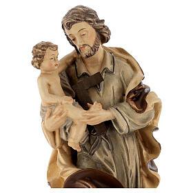 Heiliger Josef mit Kind Grödnertal Holz braunfarbig s2