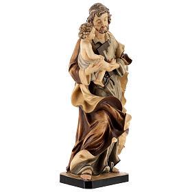 Heiliger Josef mit Kind Grödnertal Holz braunfarbig s5